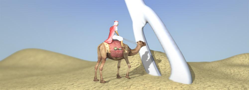 Camello pasar por el ojo de una aguja